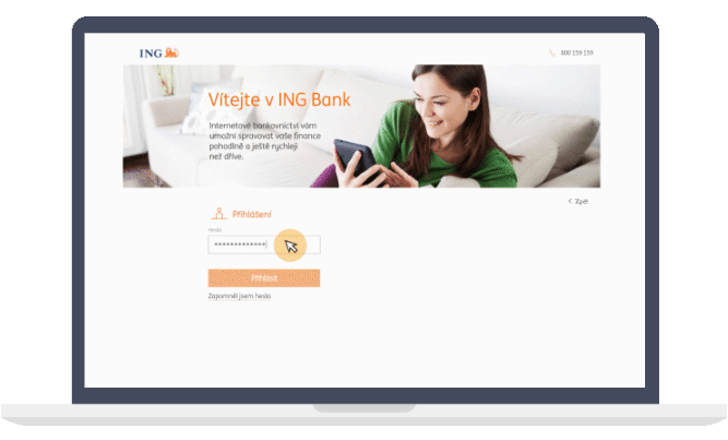 Pro úspěšné přihlášení do internetového bankovnictví je třeba zadat klientské číslo, heslo a ověřovací kód.