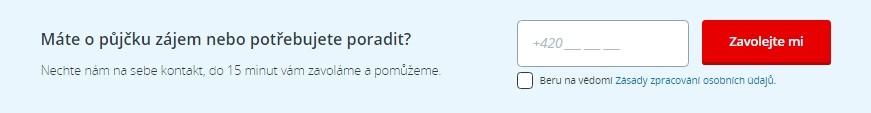 Na stránkách České spořitelny je možné nechat své telefonní číslo a zástupce České spořitelny klientovi zavolá.