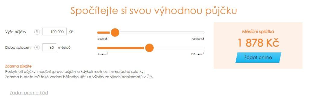 K vypočítání celkové měsíční splátky může klient využít kalkulačku.