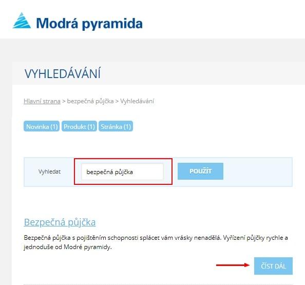 K žádosti o půjčku je nejprve potřeba otevřít si internetové stránky www.modrapyramida.cz.