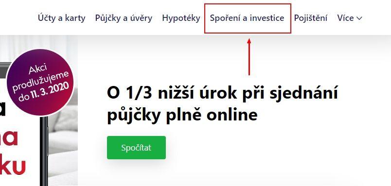 Prvním krokem je na hlavní stránce vyhledat ikonku s nápisem Spoření a investice.