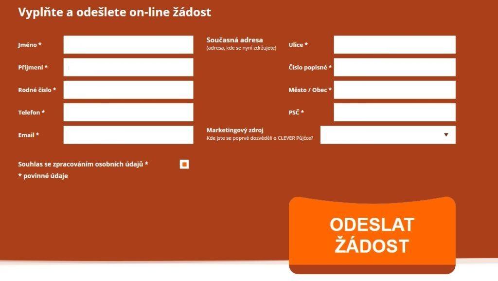 Posledním krokem je kliknutí na tlačítko Odeslat žádost.