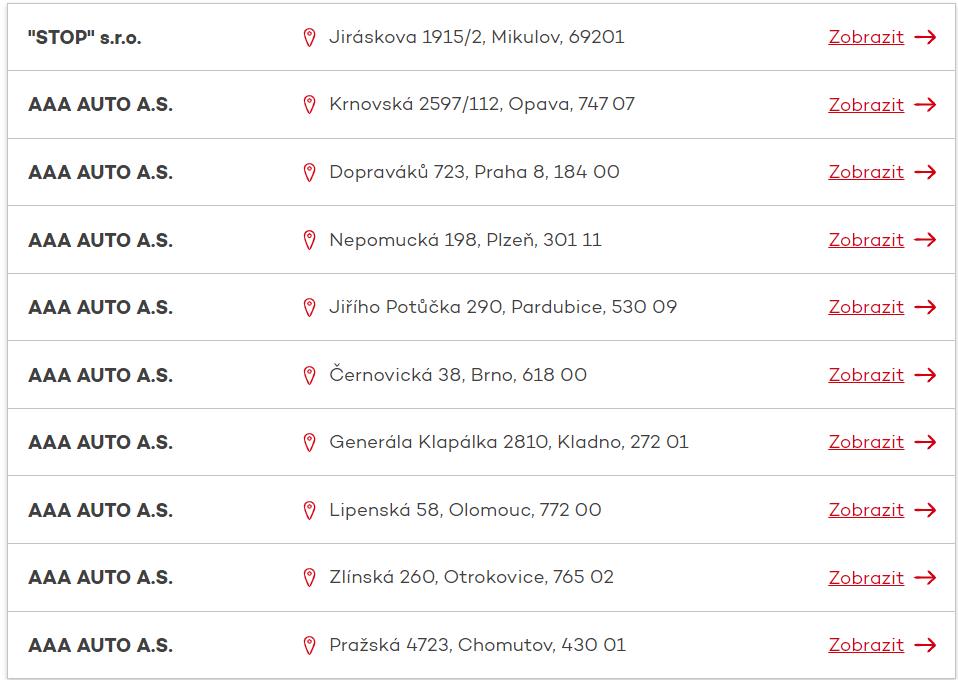 Koupit ojetý vůz na splátky je možné například v těchto autobazarech. Kompletní seznam je k dispozici na webu společnosti.