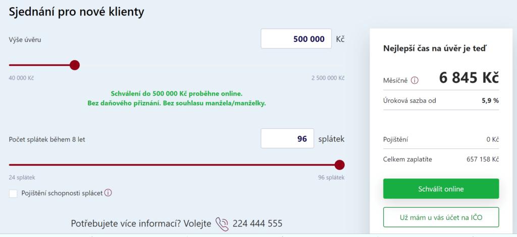 Výše rychlé online půjčky pro OSVČ je až 500 000 Kč.