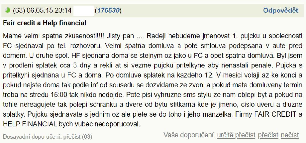 Příspěvek v diskuzi o Fair Credit půjčkách na webu kurzy.cz.