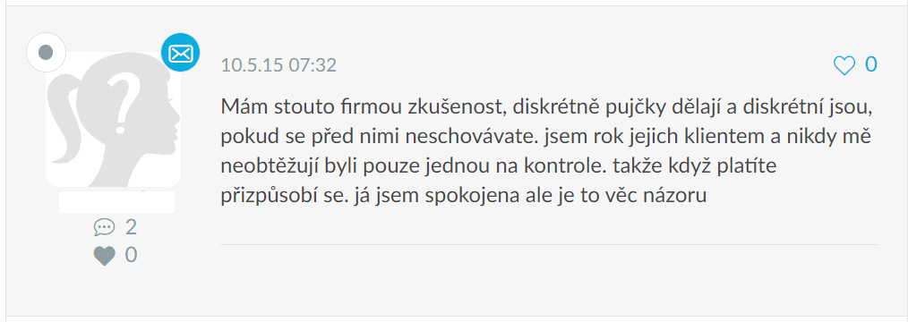Příspěvek v diskuzi o Fair Credit půjčkách na webu emimino.cz.