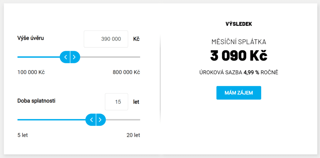 Kalkulačka úvěru na rekonstrukci je k nalezení na webu Modrapyramida.cz.