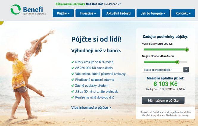 Žádost o půjčku se podává prostřednictvím webových stránek www.benefi.cz.
