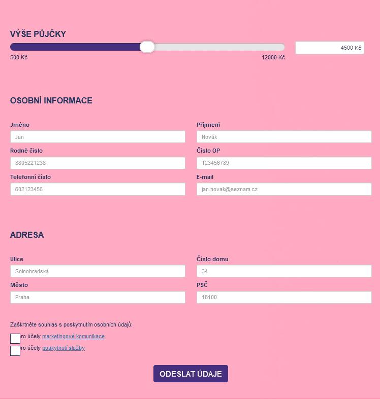 Formulář je možné vyplnit na webových stránkách Funcredit.cz.